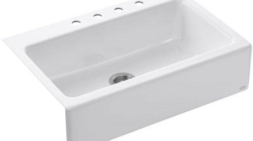 Kohler k 6546 4 0 dickinson apron front tile in kitchen sink white farmhouse sink store - Kohler dickinson apron front sink ...
