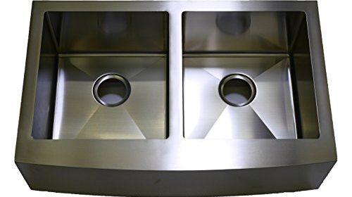 Auric Sinks 36u2033 Farmhouse Curved Front Apron Double Bowl Sink, 16 Gauge Stainless  Steel, 50 / 50 Split, 6:SCAR 16 36 5050