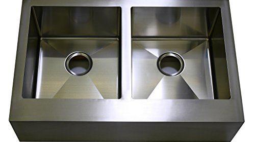 auric sinks 36u2033 farmhouse front apron double bowl sink 16 gauge stainless steel 50 50 split