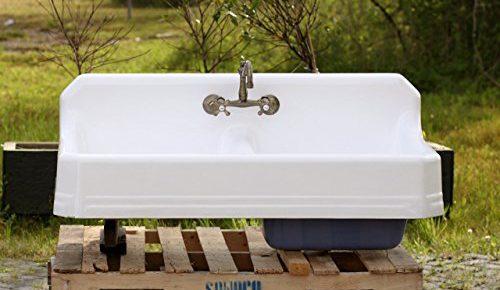 1934 Large 51u2033 Refinished Double Farm Sink Deep Basin Apron Cast Iron  Porcelain High Back Kitchen Sink Package, New Faucet U0026 Drain