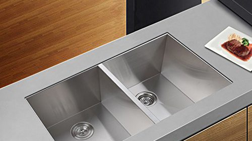 Kes 32inch Kitchen Sink Stainless Steel Double Bowl Undermount Deep 16  Gauge Zero Radius With Drain Stainer Basket And Bottom Grid Protector 32 X  19 X 10