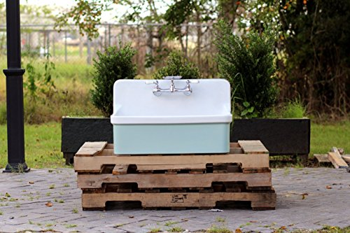Vintage Style High Back Farm Sink Apron Kitchen Utility Sink Package Vitreous