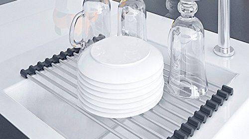 Kitchen Dish Drying Rack Over The Sink Drainer Sink Caddy U2013 Dish Rack Sink  Rack Roll Up U2013 Sink Shelf Racks Roll Shelf Organizer U2013 Stainless Steel