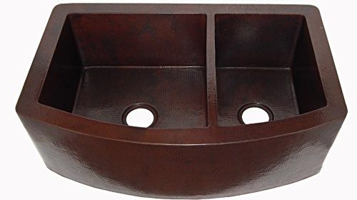 Rounded Apron Front Farmhouse Kitchen Double Bowl 60/40 Mexican Copper Sink  Dark Patina 33u2033x 22u2033x 9u2033
