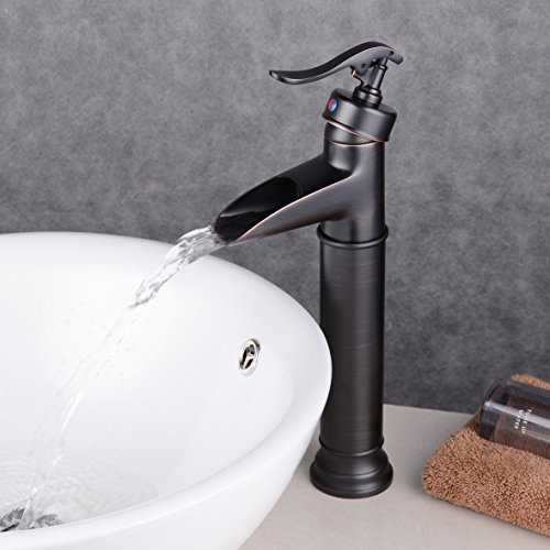Ollypulse Oil Rubbed Bronze Finished Brass Single Hole Waterfall Bathroom Vessel Sink Faucet
