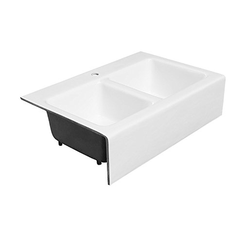 Maykke Zadie 33 White Farmhouse Kitchen Sink Cast Iron Double